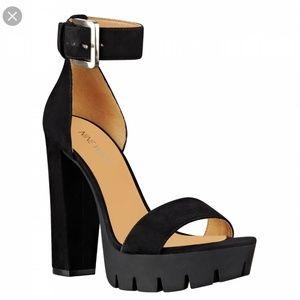 Nine West Black Suede Indira Platform Sandals